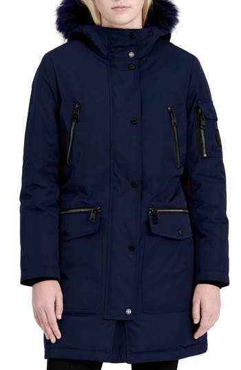 Women's Calvin Klein Expedition Hooded Down Parka With Faux Fur Trim, Size X-Small - Blue