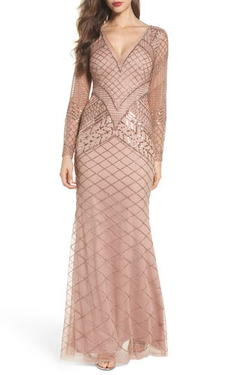 1930s Style Dresses | 30s Art Deco Dress Womens Adrianna Papell Embellished Mermaid Gown Size 0 - Pink $349.00 AT vintagedancer.com
