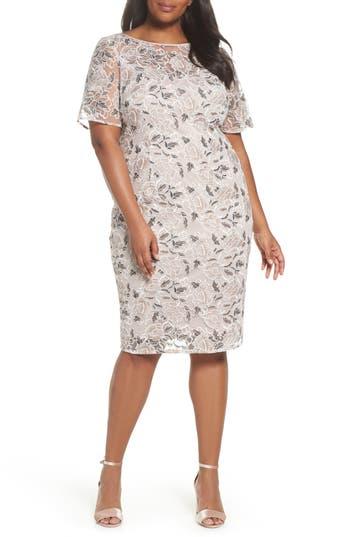 1920s Plus Size Dresses, Gatsby Dresses, Flapper Costumes Plus Size Womens Adrianna Papell Lace Sheath Dress $159.00 AT vintagedancer.com