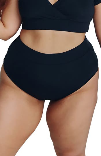 Plus Size Alpine Butterfly Lover High Waist Bikini Bottoms, Black