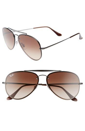 Ray-Ban Blaze 61Mm Aviator Sunglasses - Gunmetal/ Brown