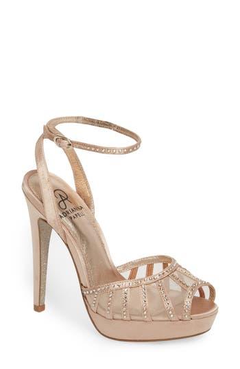 Adrianna Papell Simone Crystal Embellished Platform Sandal- White