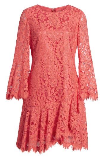1920s Style Dresses, Flapper Dresses Eliza J Lace Bell Sleeve Dress Size 12P - Pink $158.00 AT vintagedancer.com