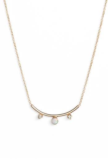 Zoe Chicco Curved Bar Diamond And Opal Pendant