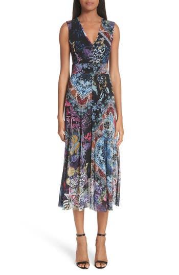 Fuzzi Floral Patchwork Print Tulle Dress, Black