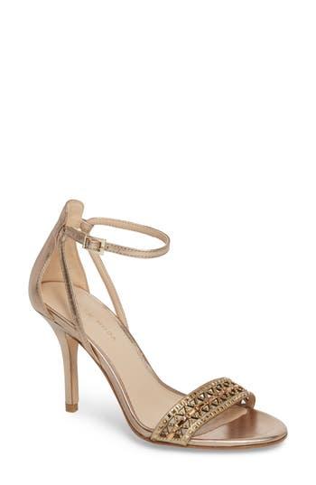 Women's Pelle Moda Karmina Embellished Sandal, Size 10 M - Metallic