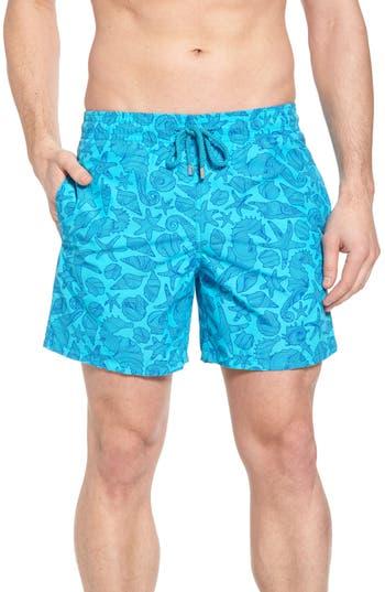Vilebrequin Seahorse Print Swim Trunks, Blue