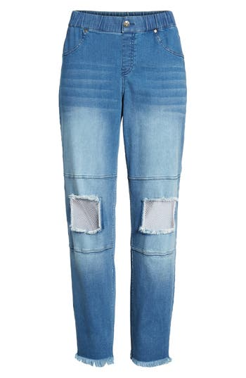 Hue Fishnet Knee Patch Denim Skimmer Leggings, Blue