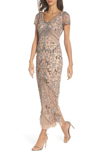 1930s Evening Dresses | Old Hollywood Dress Beaded Longline Gown  Pisarro Nights $238.00 AT vintagedancer.com