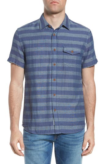 Grayers Folsom Stripe Short Sleeve Sport Shirt, Blue