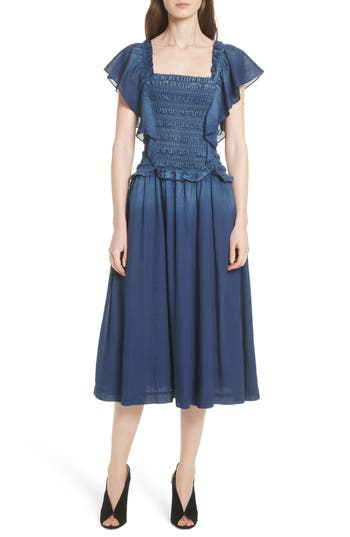 La Vie Rebecca Taylor Smocked Tissue Denim Dress, Blue