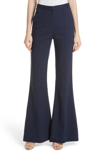 Diane Von Furstenberg Pleat Front Flare Stretch Linen Blend Pants, Blue