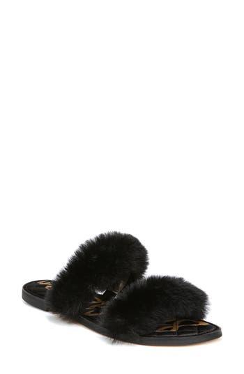 Sam Edelman Griselda Faux Fur Slide Sandal- Black