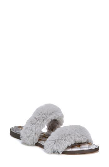 Sam Edelman Griselda Faux Fur Slide Sandal, Grey