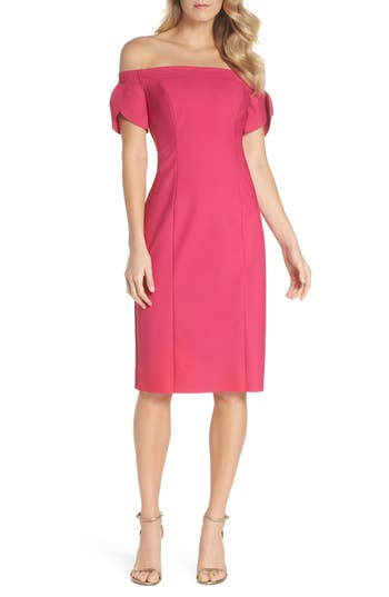 Alex Evenings Off The Shoulder Tulip Sleeve Cocktail Dress, Pink
