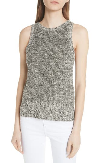 Theory Cable Wool Paper Blend Sleeveless Sweater, Size Petite - Black