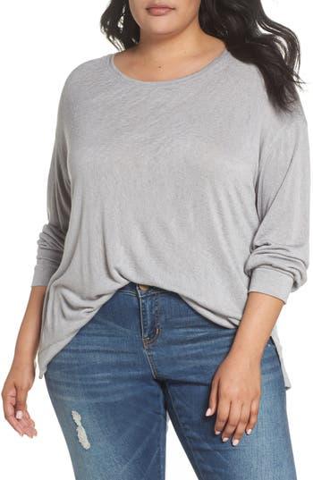 Plus Size Caslon Tuck Sleeve Sweatshirt, Grey