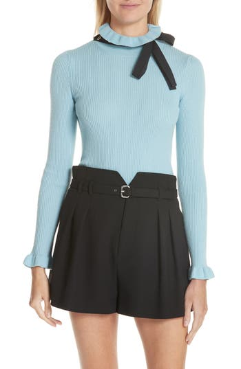 Red Valentino Bow Neck Wool Sweater, Blue