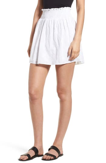 Hinge Embroidered Skirt, White