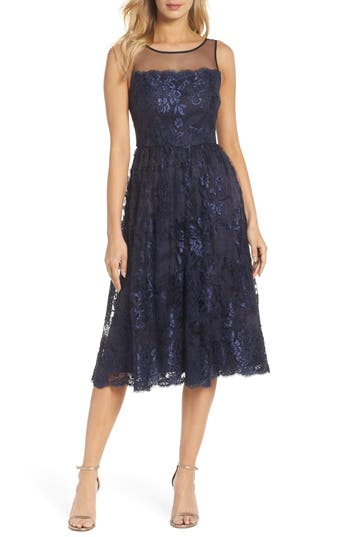 Vintage Cocktail Dresses, Party Dresses, Prom Dresses Adrianna Papell Lace Tea Length Dress Size 12P - Blue $229.00 AT vintagedancer.com