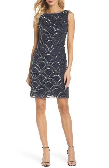 Pisarro Nights Sequin & Embroidery Cocktail Dress, Blue