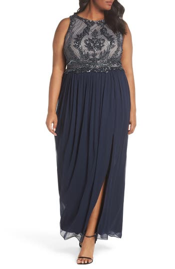 Plus Size Adrianna Papell Beaded Bodice Chiffon Gown, Blue