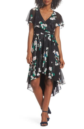 Eliza J Flutter Sleeve High/low Dress, Black