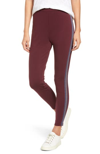 Nordstrom Stripe Ponte Skimmer Leggings, Purple