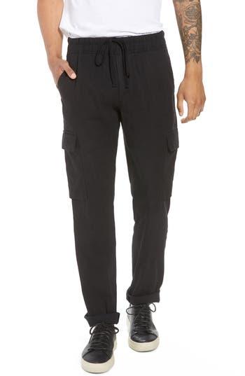 Vince Stretch Linen & Cotton Cargo Pants, Black
