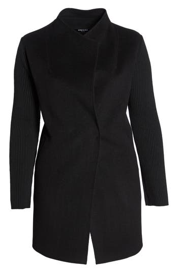 Plus Size Kenneth Cole New York Double Face Wool Knit Sleeve Coat, Black