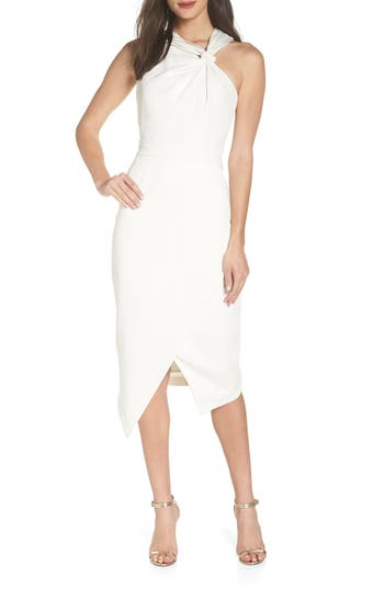 Harlyn Twist Front Asymmetrical Cocktail Dress, Ivory