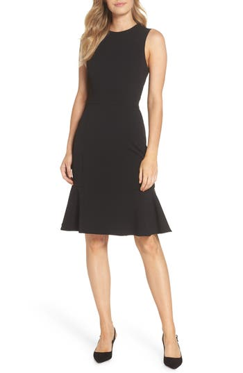Eliza J Flounce Hem Scuba Sheath Dress, Black