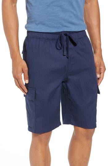 Vince Stretch Linen & Cotton Cargo Shorts, Blue