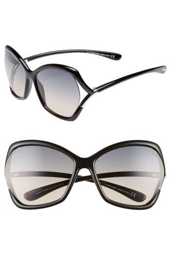 Tom Ford Astrid 61Mm Geometric Sunglasses - Shiny Black/ Gradient Smoke
