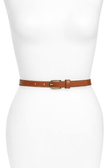 Treasure & Bond Studded Faux Leather Skinny Belt, Cognac