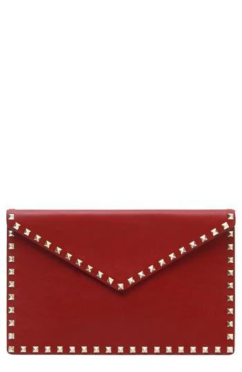Large Rockstud Leather Envelope Clutch - Red, Rubino