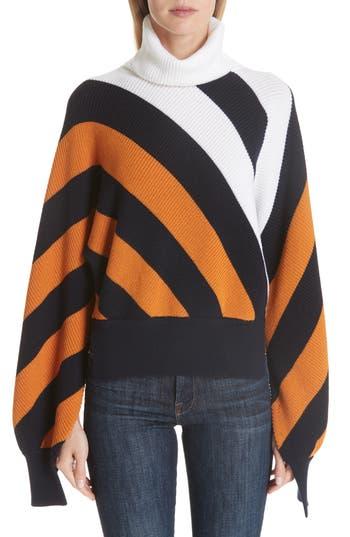 Monse Split Sleeve Wool Turtleneck Sweater, Yellow