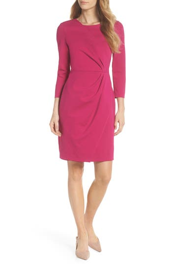 Eliza J Faux Wrap Ponte Sheath Dress, Pink