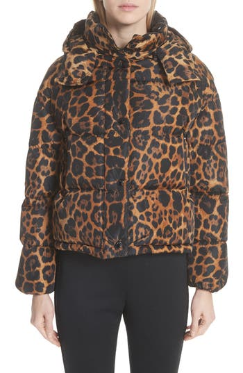 Moncler Caille Leopard Print Down Puffer Jacket, Brown