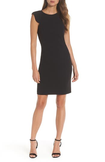 Eliza J Extended Shoulder Sheath Dress, Black