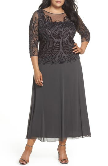 Great Gatsby Dress – Great Gatsby Dresses for Sale Plus Size Womens Pisarro Nights Illusion Neck Beaded A-Line Gown $238.00 AT vintagedancer.com