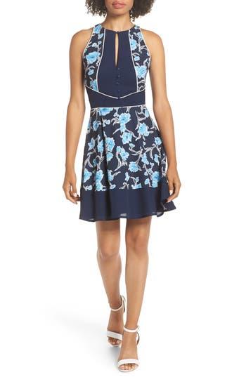 ADELYN RAE Janice Print Fit & Flare Dress, Navy-Sky