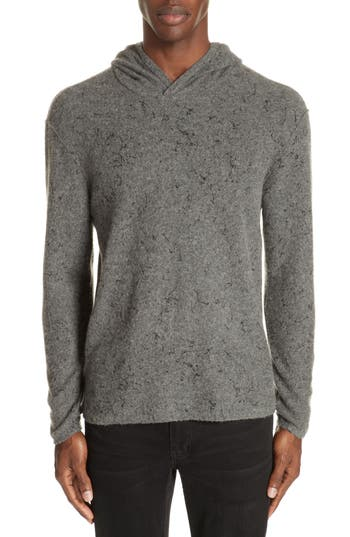 John Varvatos Collection Wool Cashmere Hooded Sweater, Grey