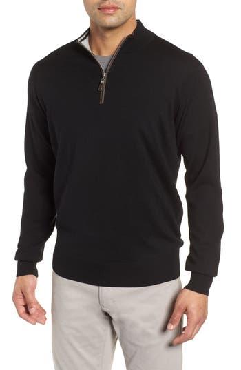 Peter Millar Crown Soft Wool Blend Quarter Zip Sweater, Black