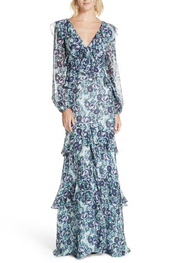 Amur Kerry Floral Print Silk Gown, Green