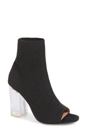 Linea Paolo Hollis Peep Toe Sock Bootie, Black