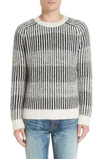 Saint Laurent Contrast Rib Wool & Alpaca Blend Sweater, White