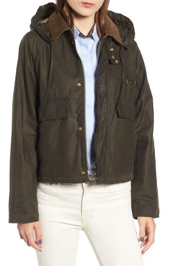Barbour Margaret Howell Spey Water Resistant Waxed Cotton Jacket, US / 8 UK - Green