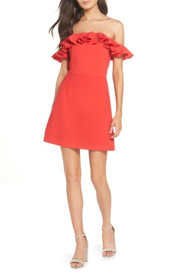French Connection Whisper Light Off The Shoulder Ruffle Dress, Red