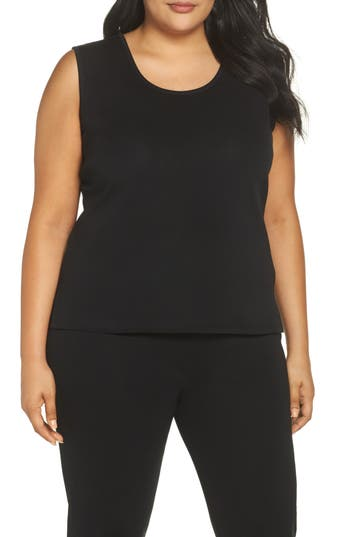 Plus Size Ming Wang Knit Tank, Black